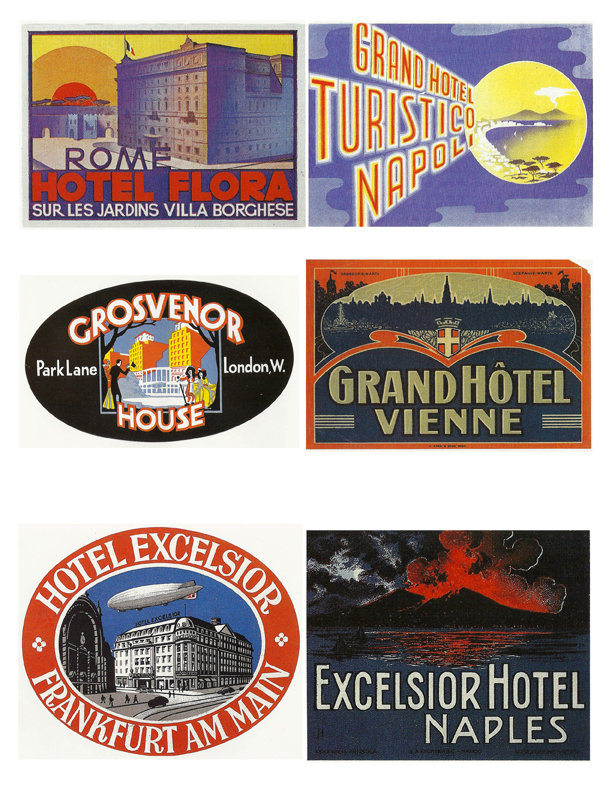 Vintage Luggage Labels for DIY crafts, cards, scrapbooking, etc.