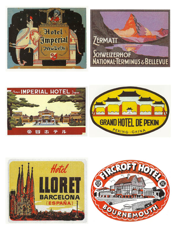 Vintage luggage labels printable digital download art