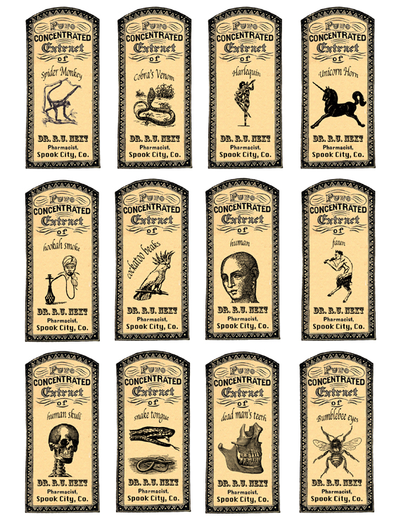 image about Free Printable Apothecary Labels named Apothecary Labels for Some Halloween Enjoyment- Free of charge Printable