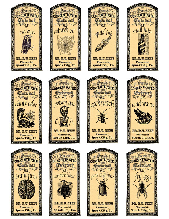 picture regarding Free Printable Halloween Apothecary Labels known as Apothecary Labels for Some Halloween Entertaining- Absolutely free Printable