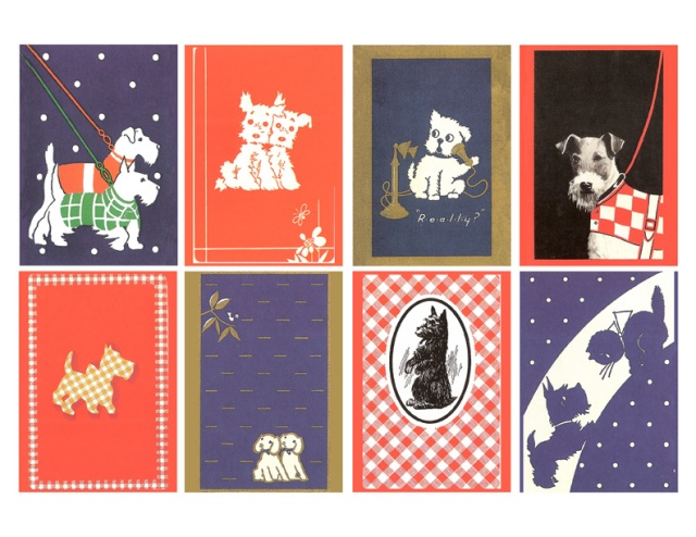 vintage playing cards with adorable dog illustrations