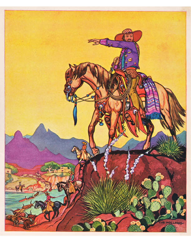 Holling illustration of a cowboy on a horse