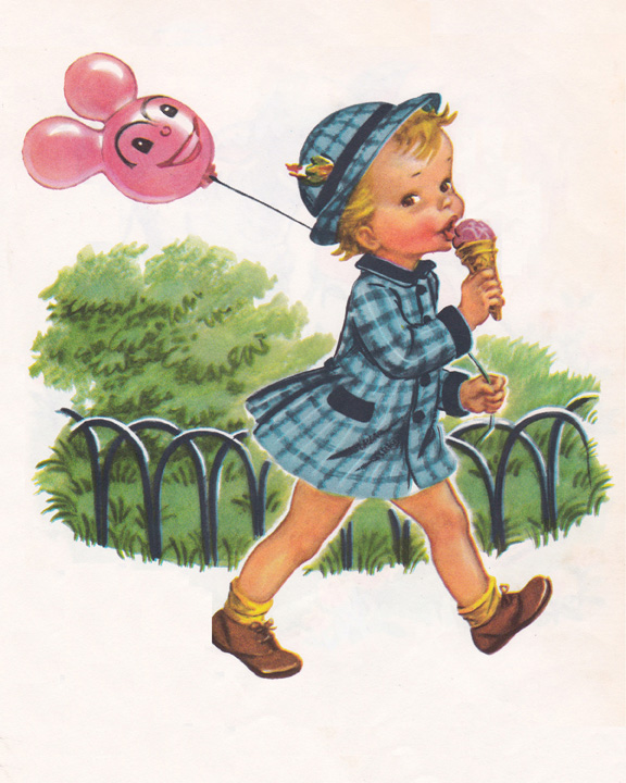 vintage child illustration with balloon and ice cream