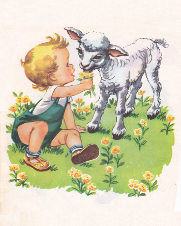 vintage child illustration with lamb and flowers