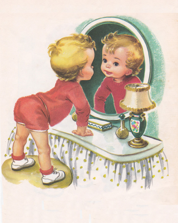vintage child illustration looking in the mirror