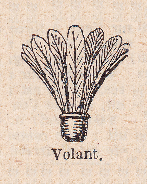 french dictionary illustration of a shuttlecock, or volant