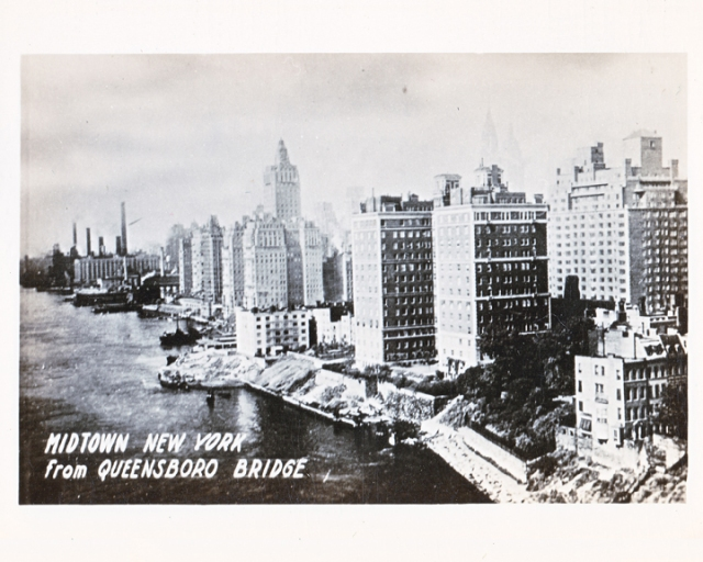 old photograph midtown Manhattan from the Queensboro Bridge