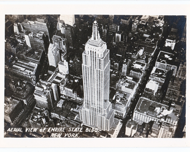 Aerial View of the Empire State Building Manhattan old black and white photograph